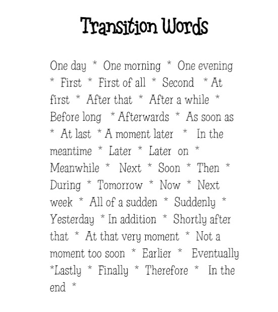 Good transition words for a narrative essay